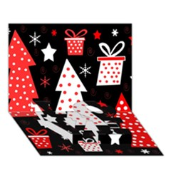 Red playful Xmas LOVE Bottom 3D Greeting Card (7x5)