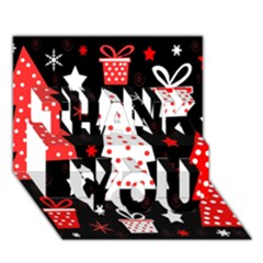 Red playful Xmas THANK YOU 3D Greeting Card (7x5)