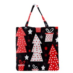 Red playful Xmas Grocery Tote Bag