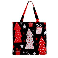 Red playful Xmas Zipper Grocery Tote Bag