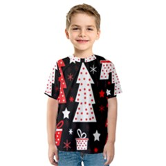 Red playful Xmas Kids  Sport Mesh Tee