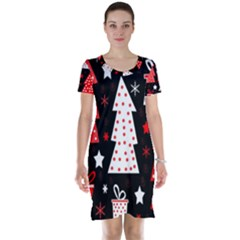Red playful Xmas Short Sleeve Nightdress