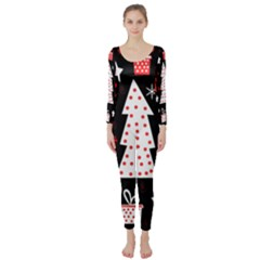 Red playful Xmas Long Sleeve Catsuit