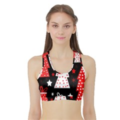 Red playful Xmas Sports Bra with Border