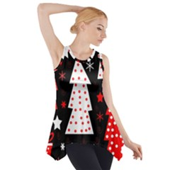 Red playful Xmas Side Drop Tank Tunic
