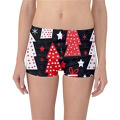 Red playful Xmas Reversible Boyleg Bikini Bottoms