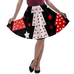 Red playful Xmas A-line Skater Skirt