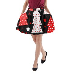 Red playful Xmas A-Line Pocket Skirt