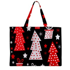 Red Playful Xmas Medium Zipper Tote Bag