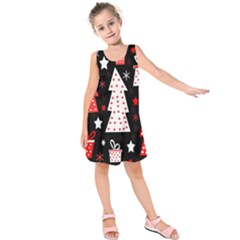Red playful Xmas Kids  Sleeveless Dress