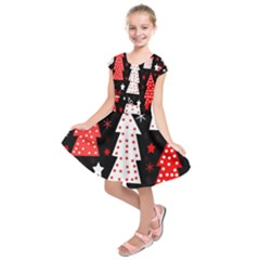 Red playful Xmas Kids  Short Sleeve Dress