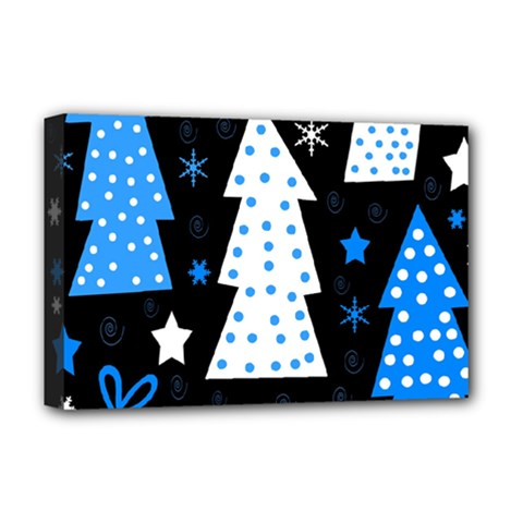 Blue playful Xmas Deluxe Canvas 18  x 12