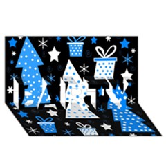 Blue playful Xmas PARTY 3D Greeting Card (8x4)