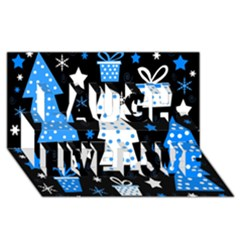 Blue playful Xmas Laugh Live Love 3D Greeting Card (8x4)