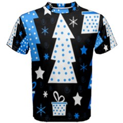 Blue playful Xmas Men s Cotton Tee