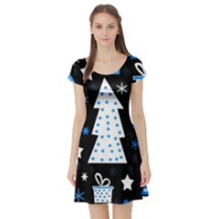 Blue playful Xmas Short Sleeve Skater Dress