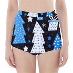 Blue playful Xmas High-Waisted Bikini Bottoms