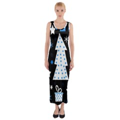 Blue playful Xmas Fitted Maxi Dress