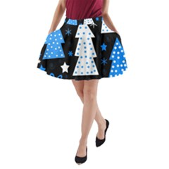 Blue playful Xmas A-Line Pocket Skirt