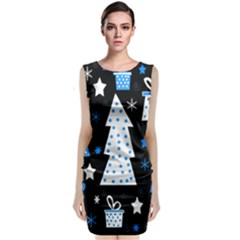 Blue playful Xmas Classic Sleeveless Midi Dress