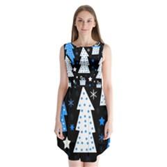 Blue playful Xmas Sleeveless Chiffon Dress