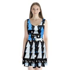 Blue playful Xmas Split Back Mini Dress