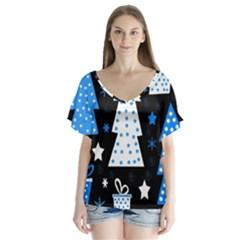 Blue playful Xmas Flutter Sleeve Top