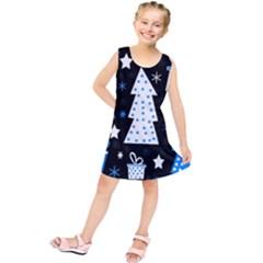 Blue playful Xmas Kids  Tunic Dress