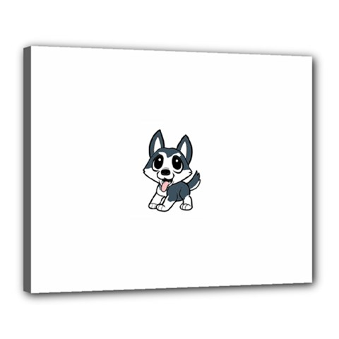 Pomsky Cartoon Canvas 20  x 16