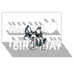 Pomsky Cartoon Happy Birthday 3D Greeting Card (8x4)