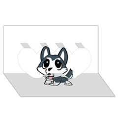 Pomsky Cartoon Twin Hearts 3D Greeting Card (8x4)