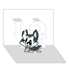 Pomsky Cartoon LOVE 3D Greeting Card (7x5)
