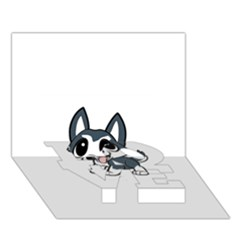 Pomsky Cartoon LOVE Bottom 3D Greeting Card (7x5)
