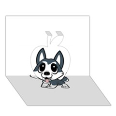 Pomsky Cartoon Apple 3D Greeting Card (7x5)