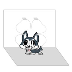 Pomsky Cartoon Clover 3D Greeting Card (7x5)