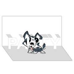 Pomsky Cartoon PARTY 3D Greeting Card (8x4)