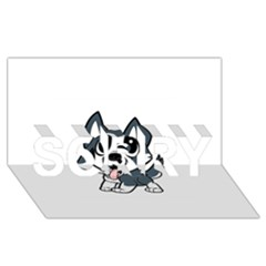Pomsky Cartoon SORRY 3D Greeting Card (8x4)