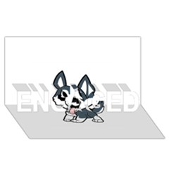 Pomsky Cartoon ENGAGED 3D Greeting Card (8x4)