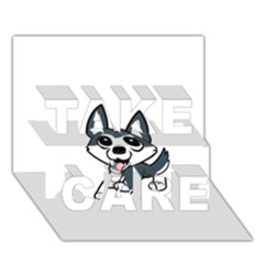Pomsky Cartoon TAKE CARE 3D Greeting Card (7x5)