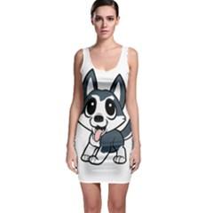 Pomsky Cartoon Sleeveless Bodycon Dress