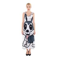 Pomsky Cartoon Sleeveless Maxi Dress