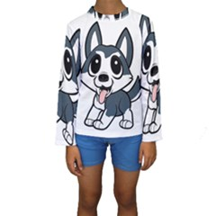 Pomsky Cartoon Kids  Long Sleeve Swimwear