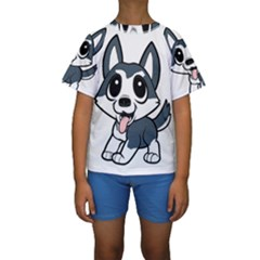 Pomsky Cartoon Kids  Short Sleeve Swimwear