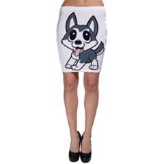 Pomsky Cartoon Bodycon Skirt