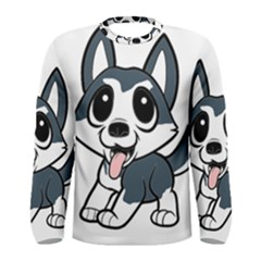 Pomsky Cartoon Men s Long Sleeve Tee