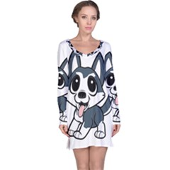 Pomsky Cartoon Long Sleeve Nightdress