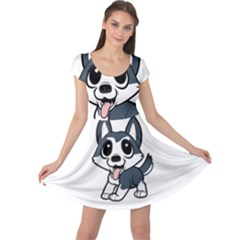 Pomsky Cartoon Cap Sleeve Dresses