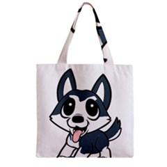 Pomsky Cartoon Zipper Grocery Tote Bag