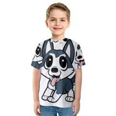 Pomsky Cartoon Kids  Sport Mesh Tee