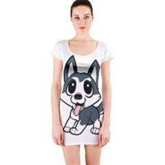 Pomsky Cartoon Short Sleeve Bodycon Dress